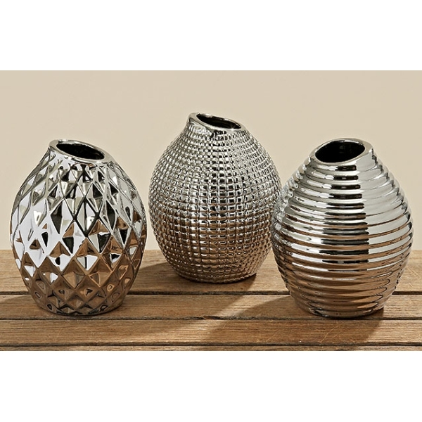 3 er set porzellan vasen h 13cm chrom silber design vasen. Black Bedroom Furniture Sets. Home Design Ideas