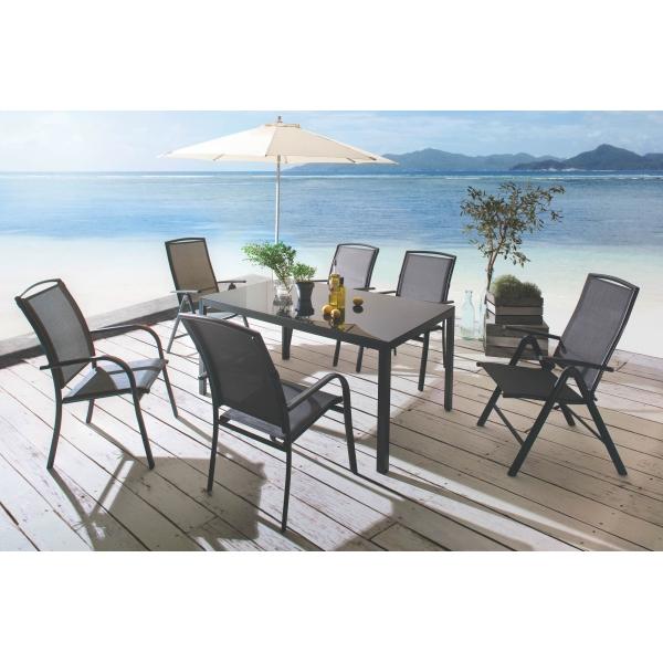 2 stk siena garden stapelsessel livorno 75x62 5x99cm aluminium anthraziti ebay. Black Bedroom Furniture Sets. Home Design Ideas